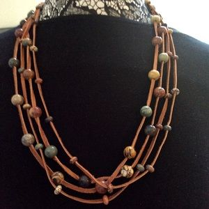 Jewelry - Multi-strand Leather & Multicolor Jasper Necklace